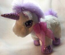 "Dandee Unicorn Purple White Sequin Sparkle Plush Stuffed Mini Wal-Mart Toy 7"""