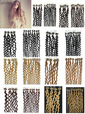 """100S Silicone Micro Loop Ring Beads Tip Curly Remy Human Hair Extensions 20"""" 50g"""