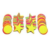 Neon Paper Star Hanging Glow in the Dark Banner for Birthdays Party Decor HJH