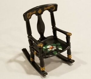 "Vintage Doll Furniture Rocking Chair Renwal 65 Made In USA Black Plastic 2.75"" H"