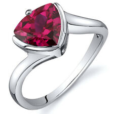 Trillion Cut Bypass Style 2.50 cts Ruby Ring Sterling Silver Sizes 5 to 9