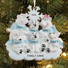 Polar Bear Family of 6 Personalized Christmas Tree Ornament Holiday Gift 2017
