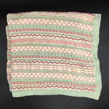 Waverly Baby Blanket Green Pink Cream Knit Sage