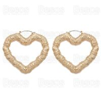70mm GYPSY HEART BAMBOO oversize HOOP EARRINGS gold fashion metal hoops UK
