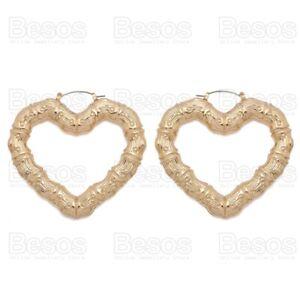 70mm GYPSY HEART BAMBOO oversize HOOP EARRINGS gold fashion metal hoops UK