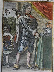 Charles XI King of Sweden Royal Portrait Armor Coat of Arms 1719 Mallet portrait