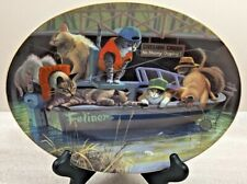 Catfish Creek Franklin Mint oval collector's plate.cats in fishing boat