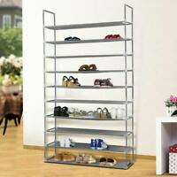 50 Pair 10 Tier Space Saving Storage Organizer Shoes Tower Rack Gray