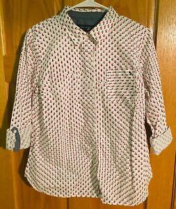 Women's Tommy Hilfiger Heritage USA Button shirt White Red Blue Stars $60 Medium