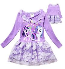 Girl Dress My Little Pony Long Sleeves Lace TuTu Party Birthday Dress Size 1-7