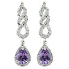 Rhinestone 18K White Gold Plated Zirconia Pear Purple Amethyst Drop Earrings
