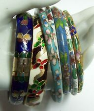 7 Vintage CLOISONNE Colorful Bangle Bracelets