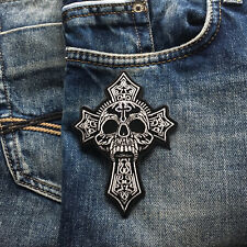 Embroidered Skull Cross Sew or Iron on Patch Biker Patch by PATCHERS ®