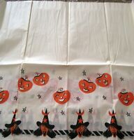 """Vintage """"Halloween"""" Table Cloth w/ Witches & Pumpkins Around The Edges*"""