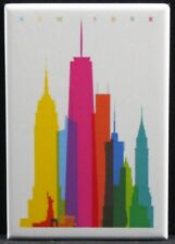 "New York City Skyline Vintage Travel Poster 2"" X 3"" Fridge Magnet. NYC"
