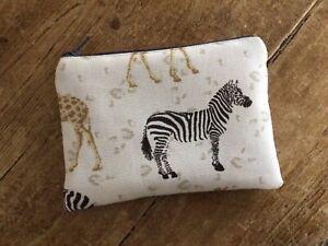 Handmade Coin Purse Linen Mix Safari Zebra Fabric