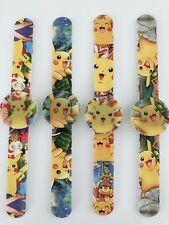 1 Boy Kid Children Pokemon Pikachu Wrist Snap on Slap band LED Wrist Watch Gift