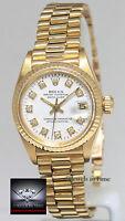 Rolex Datejust President 18k Yellow Gold White Diamond Dial Ladies Watch 6917