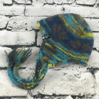 Ice Wear Kids One Sz Hat Blue 100% Wool Tassel Trapper Beanie Warm Winter Cap