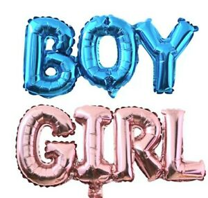 2 pcs Baby Shower foil Balloons Boy and  Girl Gender Reveal Party banner
