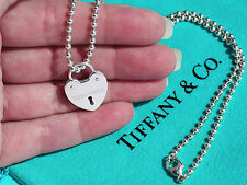 Tiffany & Co Sterling Silver LOCKS Heart Lock Charm on 16 Inch Bead Necklace