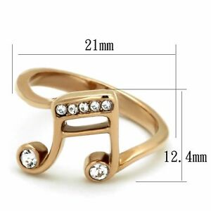 Musician Favorite Music Note Symbol Rose Gold Stainless Steel Eternity Ring Band