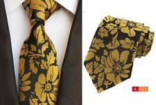 Amarillo y Negro Flor Estampado Hecho a Mano 100% Corbata de Seda