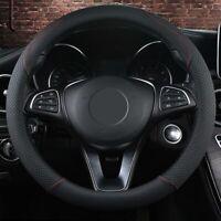 Auto Car Truck Universal Steering Wheel Cover Leather Anti-slip Black 15''/38cm