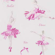 White and Pink Ballet Dancers Wallpaper 30528-1
