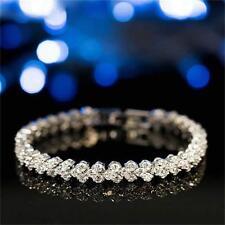 Charm Rhinestone Plated Chain Clear Zircon Crystal Bangle Bracelet Jewelry Gift