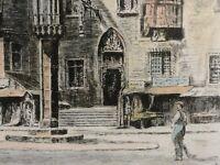 Helma Fischer-Oels (1860-1930) Farb-Radierung: BRESLAU RATHAUS & STAUPSÄULE /rar