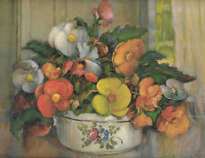 """Carle J. Blenner Unframed Litho Print 12"""" X 9"""" BLOOMS BY WINDOW SILL"""" GP-6725"""