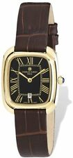 Ladies Charles Hubert IP-plated Black Square Leather Band Watch