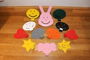 Childrens emoji coat hooks - Ideal for bedrooms, nursery, playroom