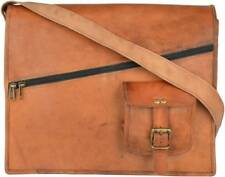 """15"""" Vintage Brown Leather Messenger Men Bag Shoulder Laptop Office Briefcase Bag"""