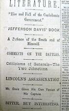 <1881 newspaper CONFEDERATE PRESIDENT JEFFERSON DAVIS RECOLLECTIONS of Civil War