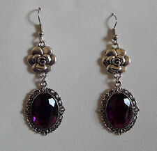 CAMELLIA FILIGREE VICTORIAN STYLE PURPLE SILVER PLATED DROP EARRINGS CFE Hook