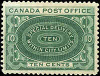 Canada Mint NH 1898 F-VF Scott #E1 10c Special Delivery Stamp