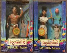 Lot Of 2 Disney Pocahontas Sun Colors Kocoum And Nakoma Dolls (1995 Mattel)