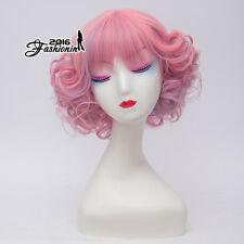 Lolita Short Curly Women Mixed Pink Fashion Party Cosplay Synthetic Hair Wig