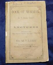 BOOK OF MORMON IS IT FROM GOD Lectures by Rev. Lamb 1885  UTAH First Baptist