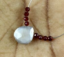 Natural 3.10cts Moonstone Red Hydro Faceted Heart Rondelle Loose Beads 9pcs