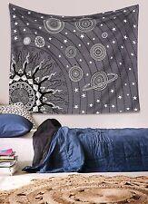 Mandala Decor solar system Galaxy sun star wall hanging tapestry black and grey