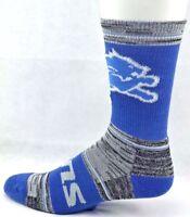 Detroit Lions Football Blue Crew Socks RMC Black Gray Wide Stripes