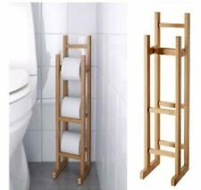 BAMBOO WOOD TOILET LOO ROLL HOLDER TISSUE STORAGE FREE STANDING CLASSIC DESIGN