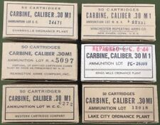 M1 CARBINE WW2 NEW REPLICA 50 ROUND AMMO BOX - 6 LABEL DISPLAY SET OF ALL PLANTS