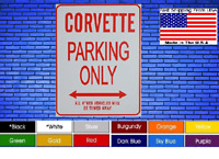 "Corvette Parking Only 8""x12"" American White Aluminum Sign Choose Color Novelty !"