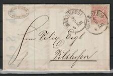 Bayern 3 Kreuzer auf Rechnung Brief Firma Hirsch Scherer aus Nürnberg, 1874