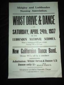 Luddenden antique poster Yorkshire scarce ephemera 1937 Whist Drive & Dance