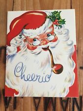 Vintage Christmas Card Santa Cheerio Smoke Pipe Cute Glasses Used/Signed 50s